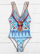 Romwe Crisscross Tribal Print One-piece Swimsuit