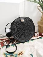 Romwe Pom Pom Detail Round Straw Crossbody Bag
