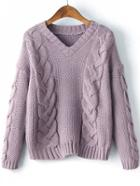 Romwe Purple Cable Knit V Neck Drop Shoulder Sweater