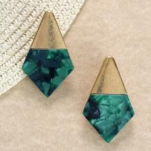 Romwe Gold And Stone Detail Diamond Shaped Earrings