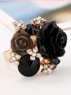 Romwe Rose Detail Rhinestone Ring