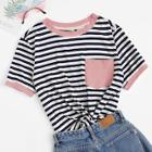 Romwe Plus Patch Pocket Striped Ringer Top
