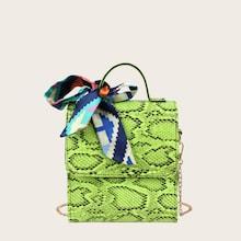 Romwe Twilly Scarf Snakeskin Chain Satchel Bag