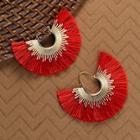 Romwe Gold Hoop Sunburst With Fringe Detail Earrings