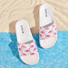 Romwe Flamingo Print Slippers