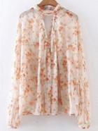 Romwe Apricot Floral Cut Out Chiffon Blouse