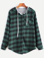 Romwe Green Check Plaid Pocket Blouse With Contrast Lining Hood