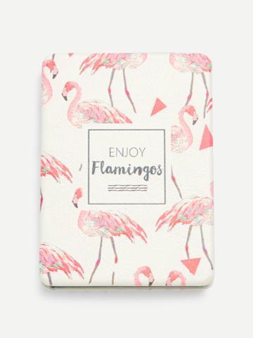 Romwe Flamingo Print Portable Folding Mini Makeup Mirror