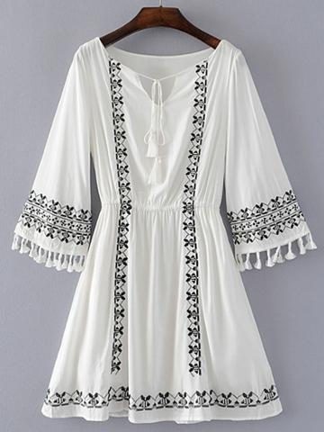 Romwe Bell Sleeve Embroidery Dress With Fringe