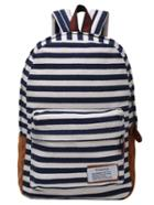 Romwe Striped Canvas Backpack