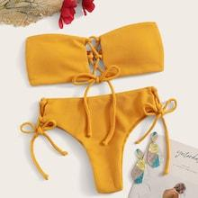 Romwe Lace-up Ribbed Bandeau Bikini Set