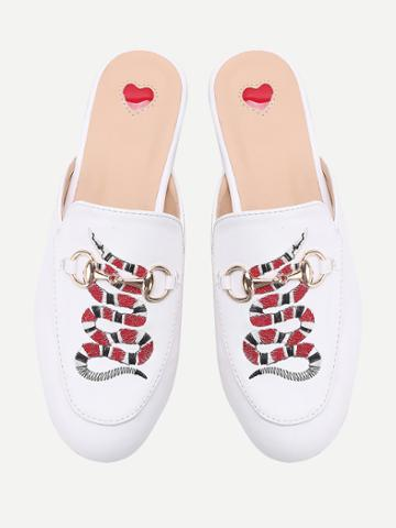 Romwe White Snake Embroidery Loafer Mules