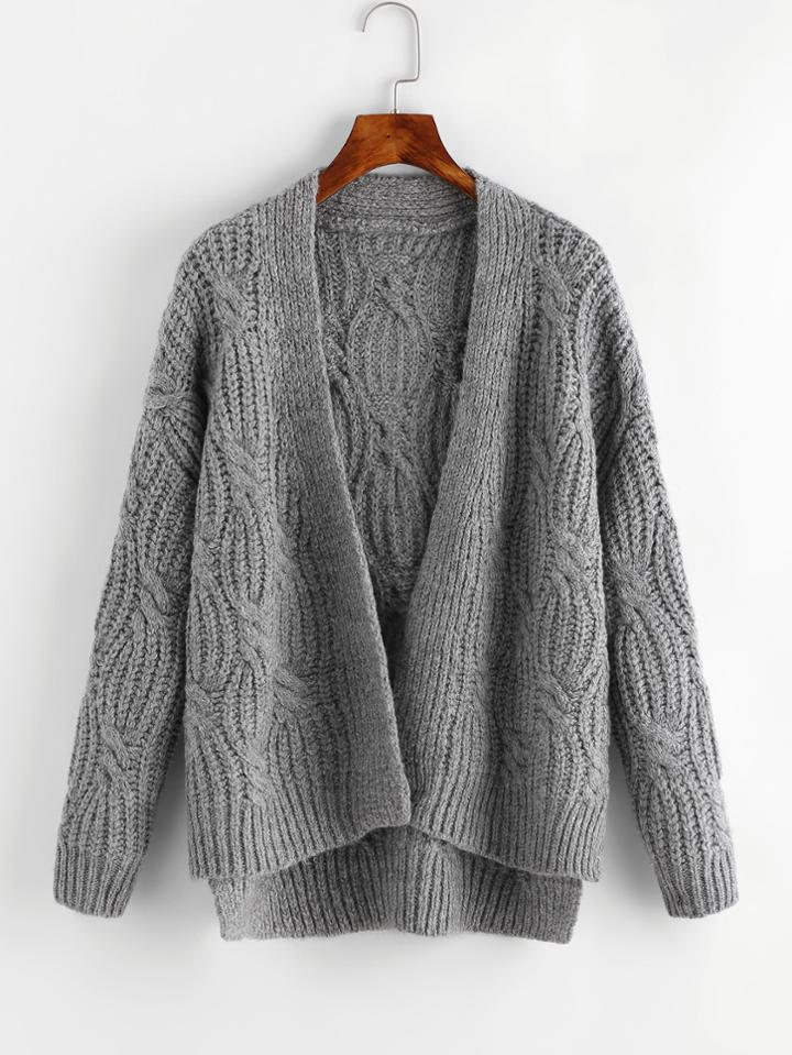 Romwe Cable Chunky Knit Cardigan