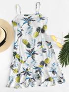 Romwe Ruffle Hem Pineapple Print Cami Dress