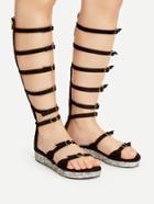 Romwe Black Buckle Strap Gladiator Sandals