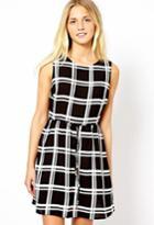 Romwe Check Print Sleeveless Dress