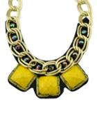 Romwe Yellow Wide Chain Collar Necklace