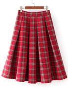 Romwe Plaid Zipper Pleated Red Skirt