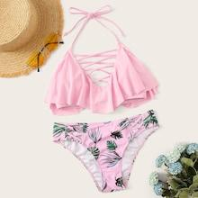 Romwe Lattice Ruffle Top With Random Leaf Print Bikini