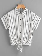 Romwe Vertical Striped Tie Front Shirt