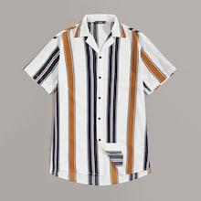 Romwe Guys Notch Collar Colorblock Striped Shirt