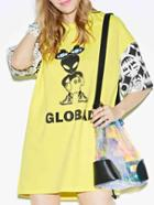 Romwe Cartoon Print Tshirt Dress