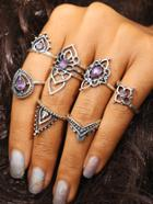 Romwe Flower Shaped Ring Set With Gemstone