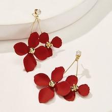 Romwe Bar Detail Flower Stud Earrings 1pair