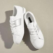 Romwe Metallic Detail Lace-up Front Sneakers