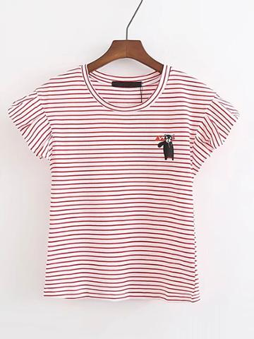 Romwe Bear Print Striped Tee