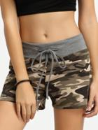 Romwe Camouflage Tie Waist Casual Shorts