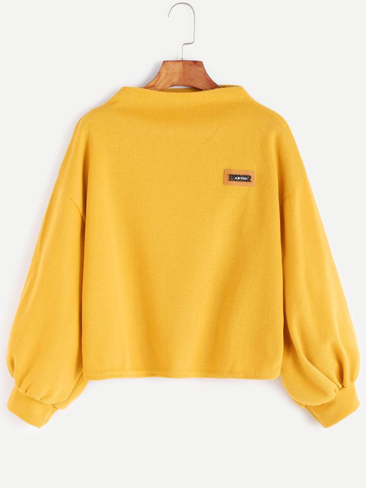 Romwe Yellow Funnel Neck Drop Shoulder Lantern Sleeve Patch Sweatshirt