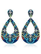Romwe Tribal Pattern Hollow Water Drop Shaped Earrings