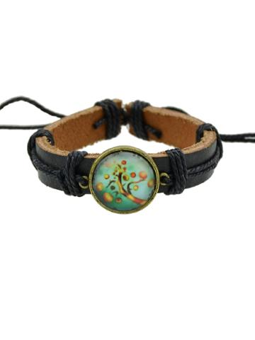 Romwe Peach Hiphop Jewelry Rock Style Pu Leather Bracelets