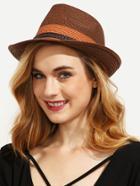 Romwe Braided Trim Straw Fedora Hat