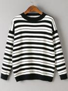 Romwe Black Striped Crew Neck Drop Shoulder Sweater