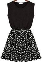 Romwe Sleeveless Floral Chiffon Black Dress