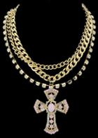 Romwe Gold Diamond Cross Chain Necklace
