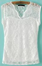 Romwe White V Neck Hollow Lace Blouse