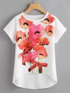Romwe Flower Print Dip Hem Chiffon Top