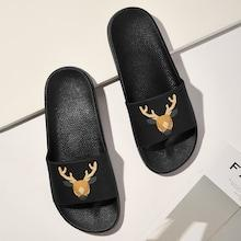 Romwe Guys Deer Pattern Flat Slippers