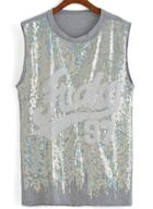 Romwe With Sequined Tank Top