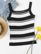 Romwe Striped Knit Cami Top