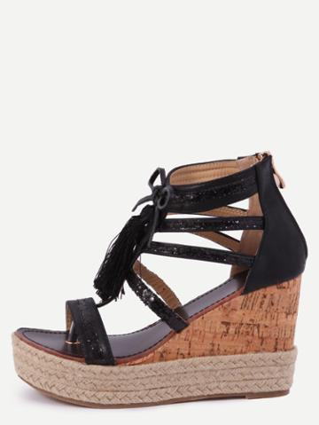 Romwe Black Fringe Wedges