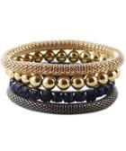 Romwe Gold Multilayers Bead Bracelet