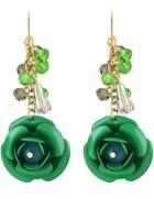 Romwe Green Rose Dangle Earrings