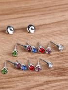 Romwe Rhinestone Stud Earrings 6pairs