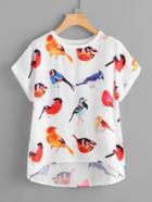 Romwe Bird Print Dip Hem Blouse