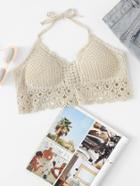 Romwe Hollow Crochet Halter Crop Top