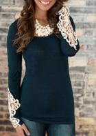 Romwe Navy Scoop Neck Lace Long Sleeve Slim Blouse